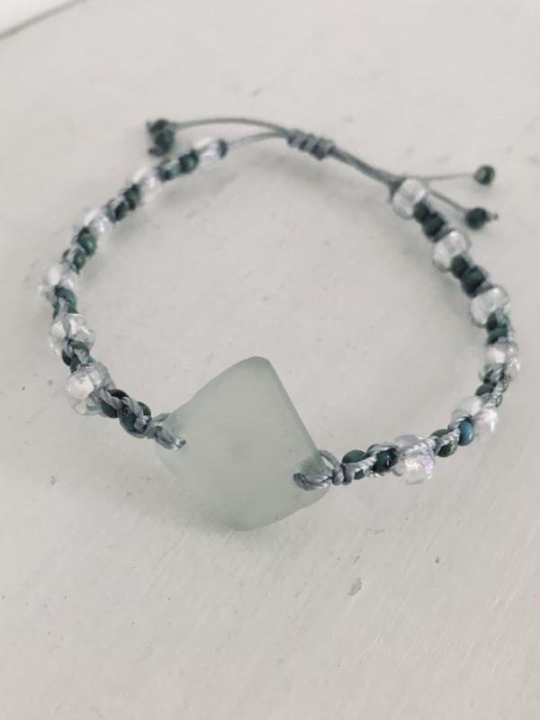 Aqua Sea Glass Macrame Bracelet