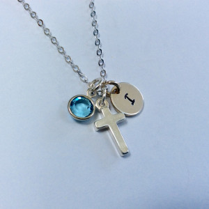 Dainty Holy Communion Personalised Necklace with Birthstone