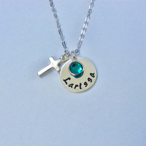 Holy Communion Personalised Necklace with Birthstone