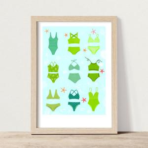 Shades of Green A4 Art Print
