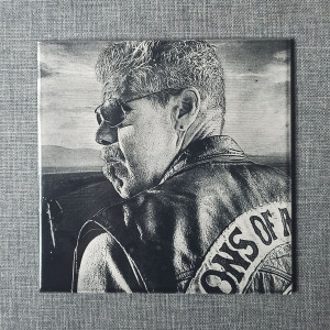 """Sons Of Anarchy Clarence """"Clay"""" Morrow Engraved on Ceramic Tile"""