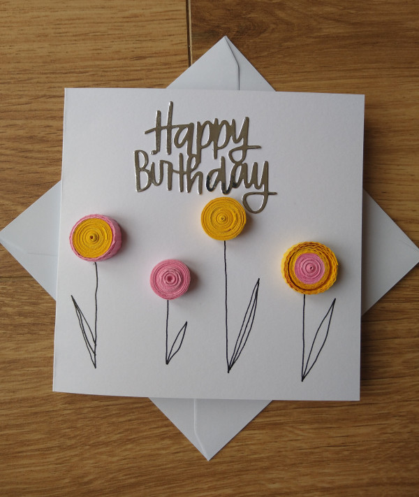 Quilled Flowers Birthday Card