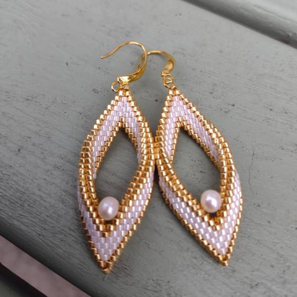 White & Gold Pearl Folded Leaf Earrings - IMG 20210819 182242 285