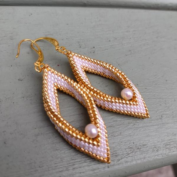 White & Gold Pearl Folded Leaf Earrings - IMG 20210819 182242 417