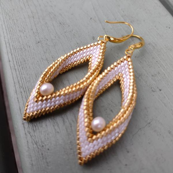White & Gold Pearl Folded Leaf Earrings