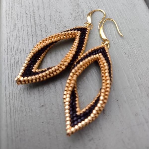 Black and Gold folded leaf earrings - IMG 20210819 194108 754