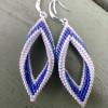 White and Blue Folded Leaf Earrings
