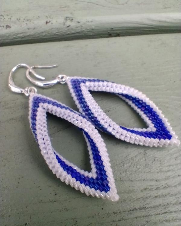 White and Blue Folded Leaf Earrings - IMG 20210819 205555 524