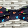 Dog Bow Tie Colourful Paw Prints on Black