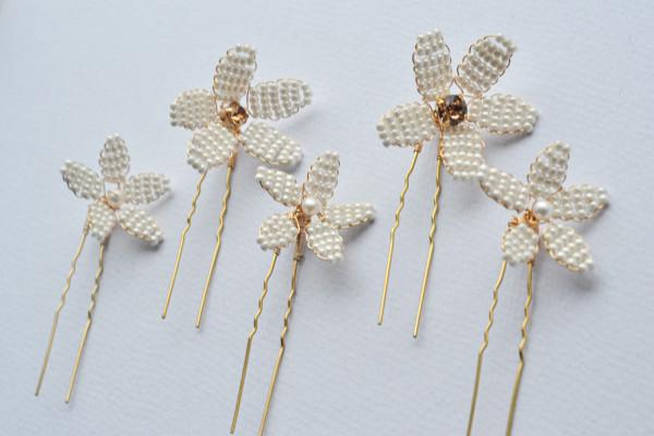 Pearl Flower Hairpins