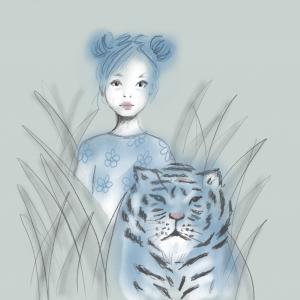 Tiger Blue Children's Art Print