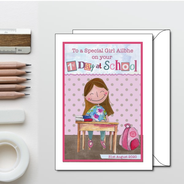 First Day at School Card - first day girl