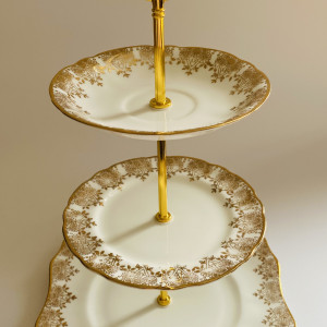 Cake Stand - 3 Tier Gold Decorative Fine Bone China