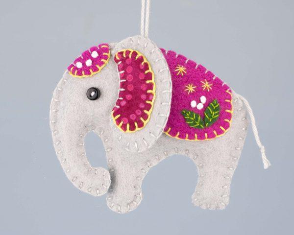 Elephant Felt Ornament