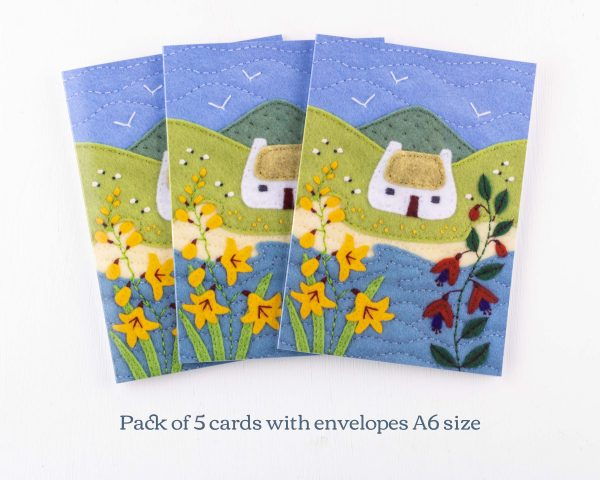 Irish Cottage Greeting Cards Pack of 5 - 14th July 1477 text scaled