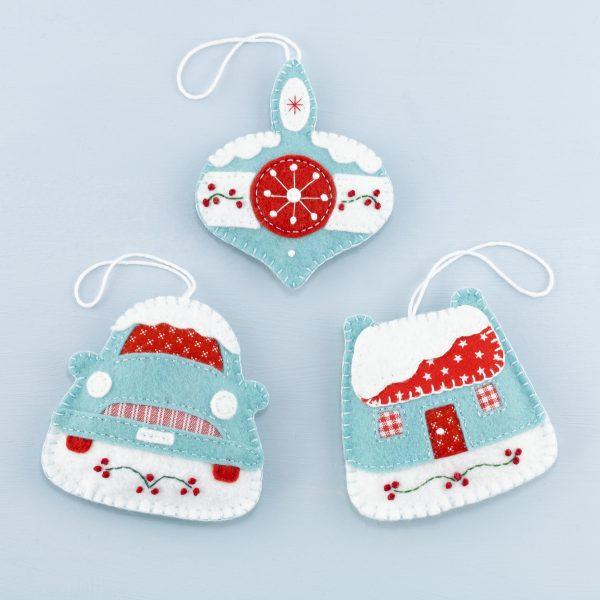 Vintage Felt Christmas Ornament Set