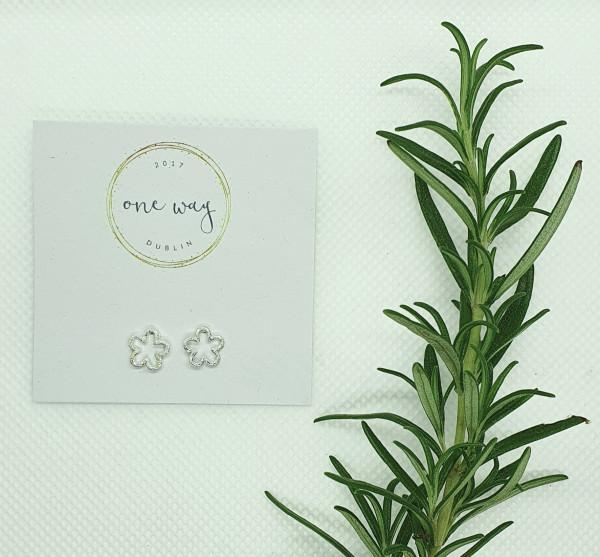 Flower Power Frosted Sterling Silver Stud Earrings - 20210102 151732