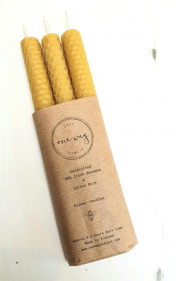 Handmade Irish Beeswax Dinner Candles - Pack of 3. - 20210305 132714 scaled