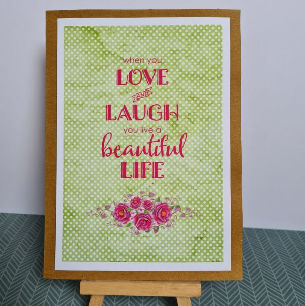 Love and Laugh Sentiment Handmade Card