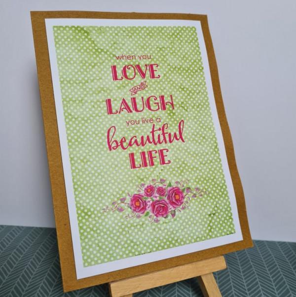 Love and Laugh Sentiment Handmade Card - 242220782 982926135820746 3879004236914858450 n