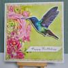 Blue Hummingbird Happy Birthday Card