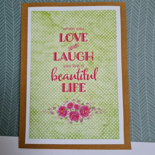 Love and Laugh Sentiment Handmade Card - 242232795 446074826755776 5910063375140825121 n