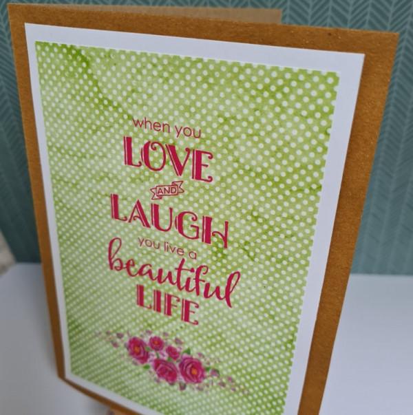 Love and Laugh Sentiment Handmade Card - 242243408 820530105279299 2454465840367231385 n 1