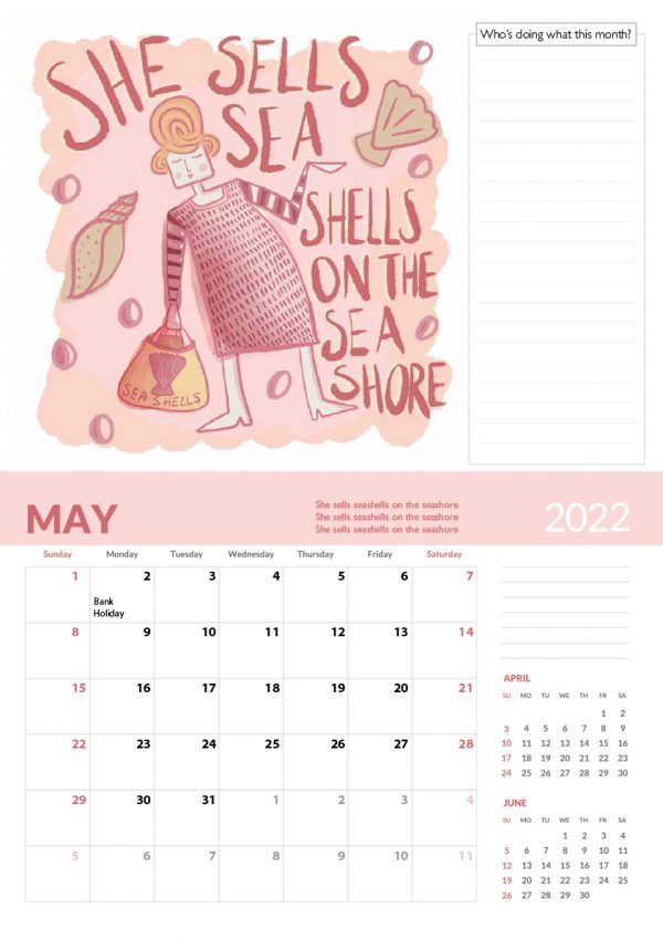 2022 Calendar Twelve Tongue Twisters for Twenty Twenty Two - 5 screen family 2022 vers cal 6 e1632413565423
