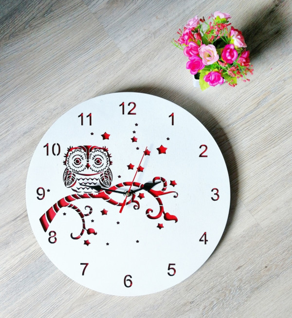 Wooden Decorative Wall Clock Owl