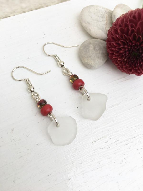 Sea Glass & Red Bead Earrings