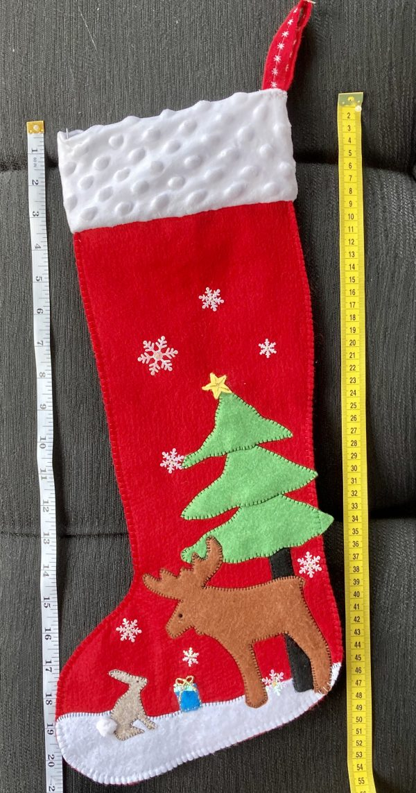 One-of-a-Kind Christmas Stocking, Red/Moose & Rabbit - 7CFAA5B7 23D9 4D24 BC4C D28AF401FC5E scaled
