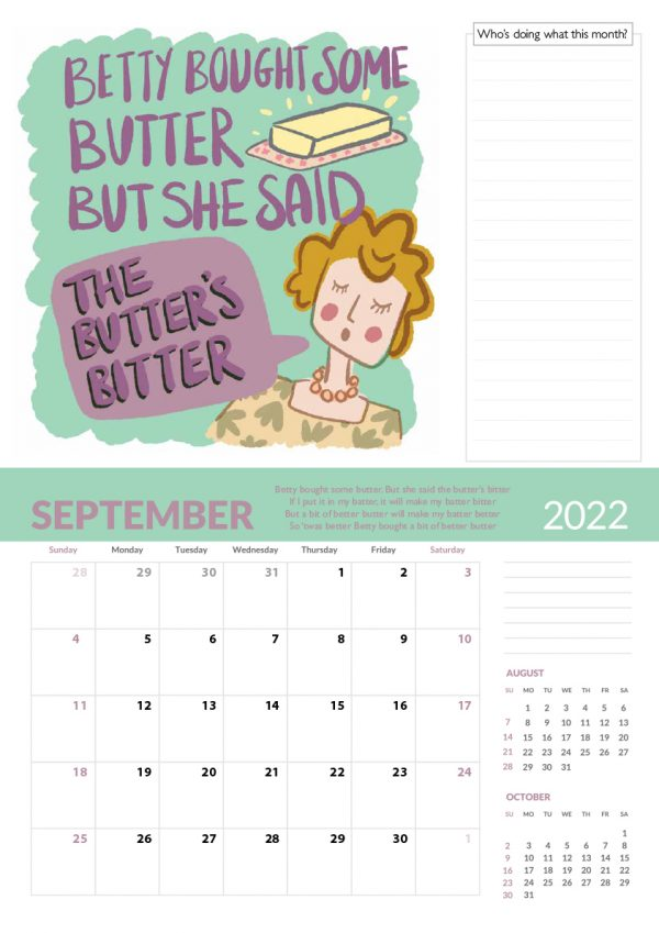 2022 Calendar Twelve Tongue Twisters for Twenty Twenty Two - 9 screen family 2022 vers cal 10 e1632413530312