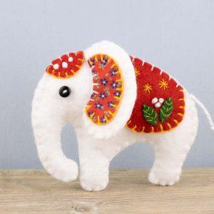 White Elephant Felt Ornament