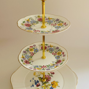 Cake Stand - 3 Tier Colourful Floral Fine Bone China
