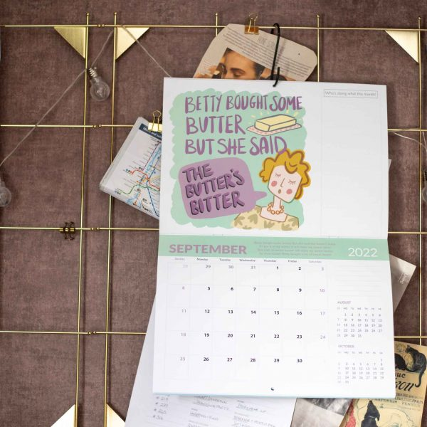 2022 Calendar Twelve Tongue Twisters for Twenty Twenty Two - Betty Bought some butter calendar