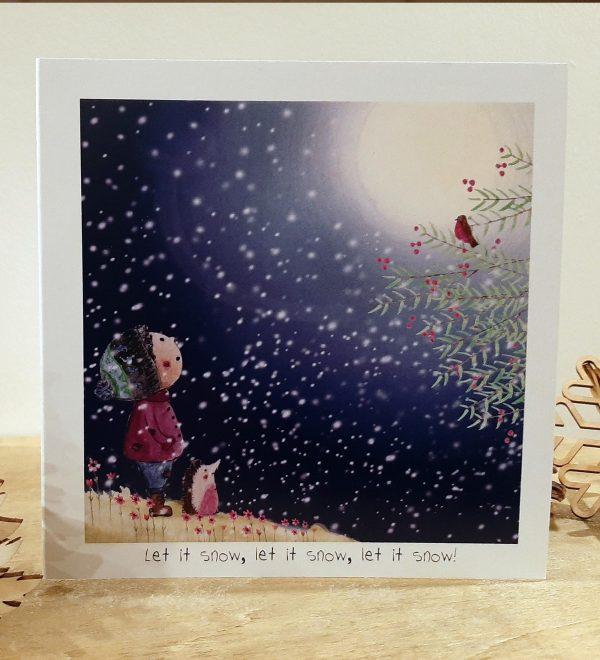 Let it Snow Greeting Card - Boy snow