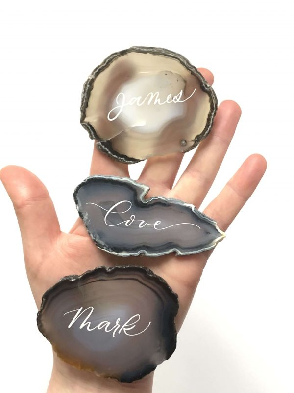 Agate Slices Name Place Cards