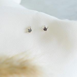 Delicate Mini Crown 925 Sterling Silver Stud Earrings