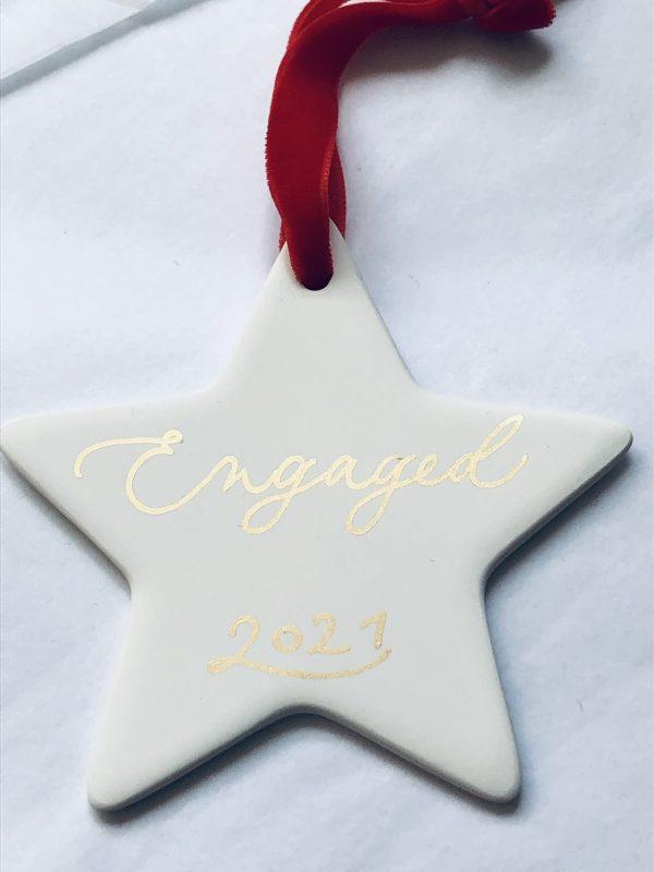 Handmade White Ceramic Star Personalised Christmas Bauble - IMG 0382 scaled