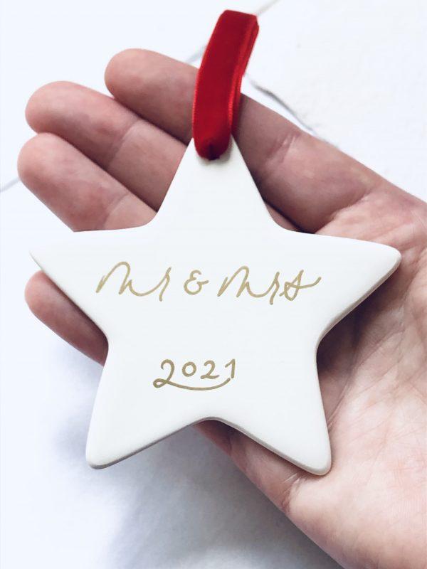 Handmade White Ceramic Star Personalised Christmas Bauble