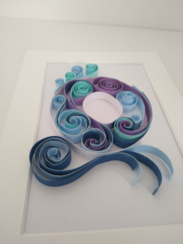 Initial Paper Quilling Wall Art Frame- Blue Tones - IMG 20210906 150857863 scaled