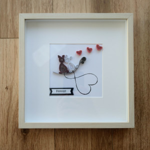 Personalised Quilled Frame Love and Cats