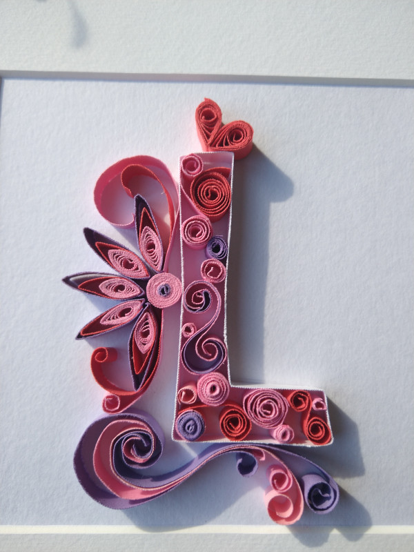 Initial Paper Quilling Wall Art - Pink Tones - IMG 20210919 101209173 scaled