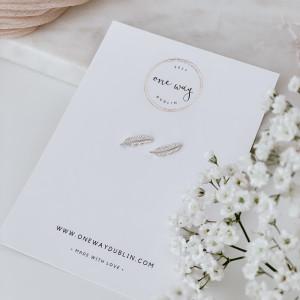 Angel Feathers 925 Sterling Silver Stud Earrings