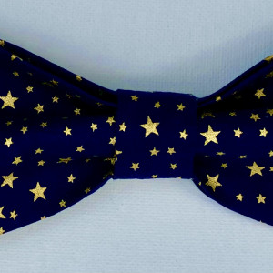 Dog Bow Tie Navy with Gold Stars