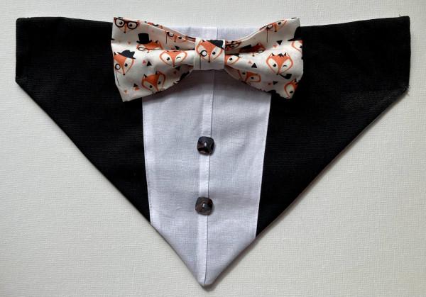 Reversible Tuxedo Dog Bandana - Grey and Black - IMG 5997 scaled