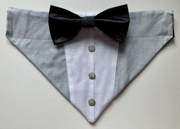 Reversible Tuxedo Dog Bandana - Grey and Black - IMG 6004 scaled