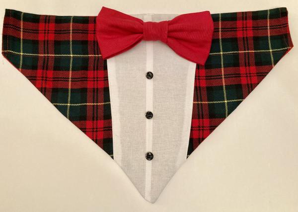 Reversible Tuxedo Dog Bandana Tartan/Red