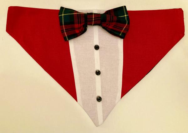 Reversible Tuxedo Dog Bandana, Tartan/Red - IMG 6102 scaled