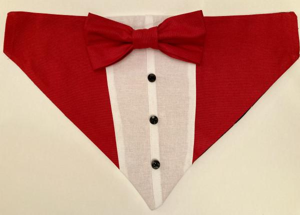 Reversible Tuxedo Dog Bandana, Tartan/Red - IMG 6103 scaled